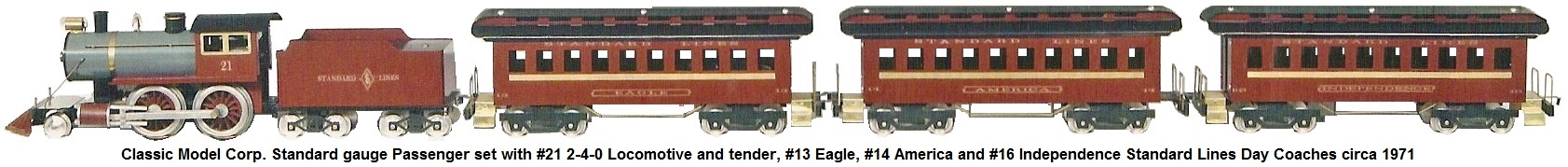 Classic Model Corp. Standard gauge #21 2-4-0 locomotive and tender with #13 Eagle, #14 America and #16 Independence Standard Lines Day coaches circa 1971