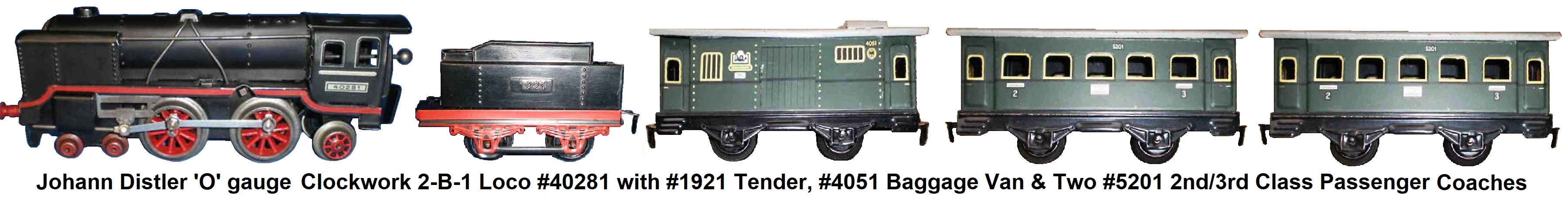 Johann Distler 'O' gauge tinplate lithographed passenger set with 4-4-2 clockwork loco #40281, tender #1921, #4051 baggage van, and 2 #5201 2nd/3rd class passenger wagons