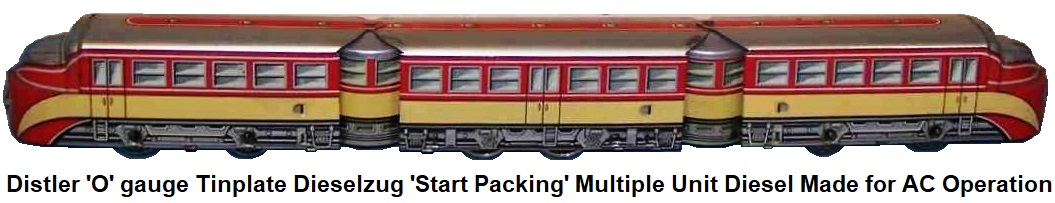 Johann Distler 'O' gauge tinplate lithographed 'Start Packing' diesel multiple unit made of tin for AC operation dieselzug