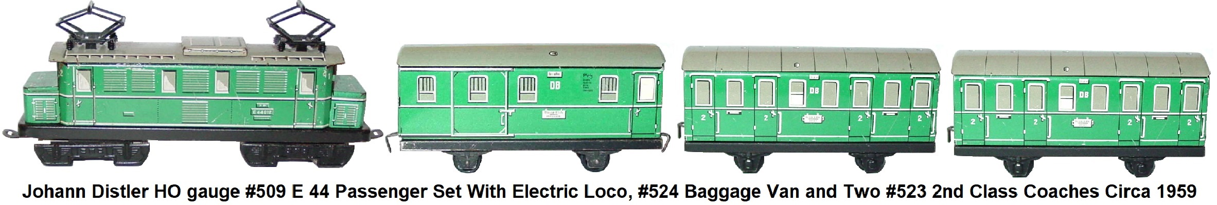 Johann Distler Nuremberg, HO gauge tinplate lithographed #509 Set with E 44 electric loco, #524 baggage van, 2 #523 2nd class passenger coaches circa 1959