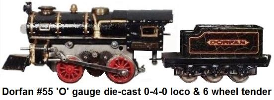 Dorfan 'O' gauge #55 0-4-0 cast steam outline electric engine & 6 wheel tender. 1930 version in black with brass trim and red wheels