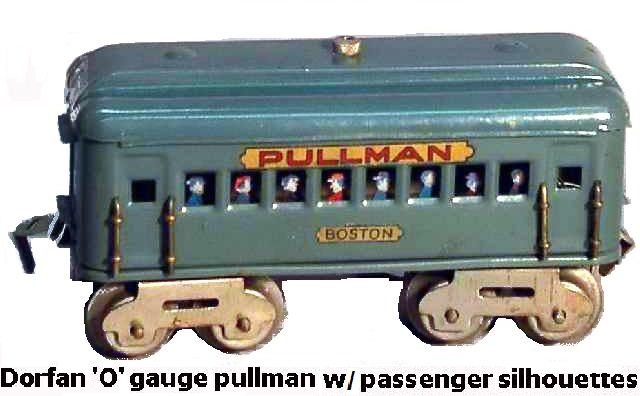 Dorfan 'O' gauge #490 lithographed pullman coach with passenger silhouettes circa 1925