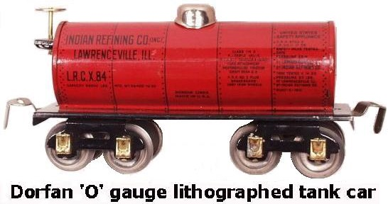 Dorfan tinplate lithograhed #604 Indian Refining Company tank car in 'O' gauge