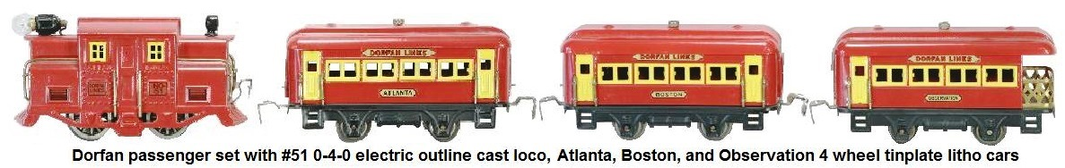 Dorfan Red Flash Passenger set with #51 0-4-0 electric outline cast loco, Atlanta, Boston and Observation 4 wheel tinplate litho cars circa 1930