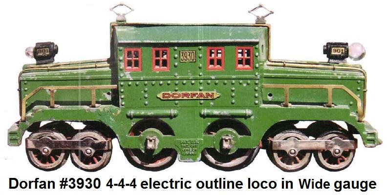 Dorfan #3930 Standard gauge cast crocodile electric outline 4-4-4 locomotive