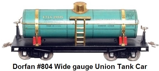 Dorfan #804 tinplate lithographed Indian refining Union tank car in Wide gauge