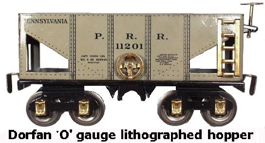 Dorfan tinplate lithographed Pensylvania RR hopper car in 'O' gauge