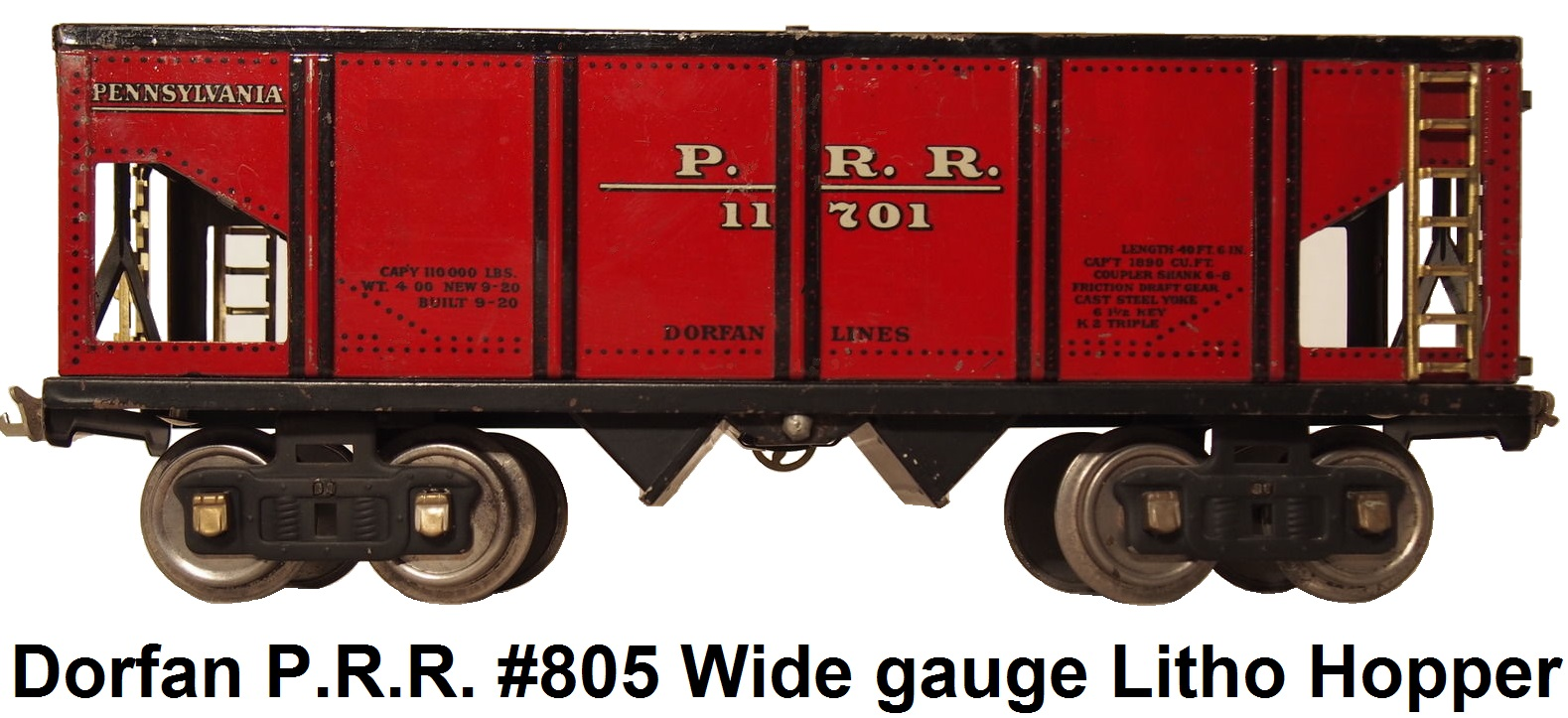 Dorfan #805 Red Litho PRR Wide gauge Hopper car