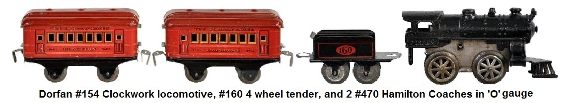 Dorfan  #154 style clockwork loco with #160 tender and 2 #470 Hamilton Coaches in 'O' gauge