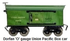 Dorfan tinplate lithograhed #602 Union Pacific Box car in 'O' gauge