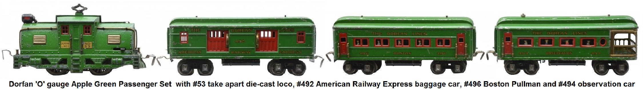 Dorfan 'O' gauge Apple Green #275 Manhattan limited Passenger Set with #53 take apart die-cast locomotive, #492 baggage, #496 Boston Pullman and #494 observation circa 1929