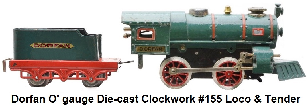 Dorfan 'O' gauge #155 0-4-0 die-cast blue-green steam outline clockwork engine & 4 wheel tender