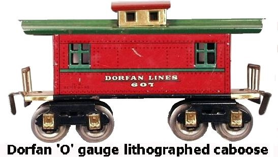Dorfan tinplate lithograhed #607 Dorfan Lines caboose in 'O' gauge