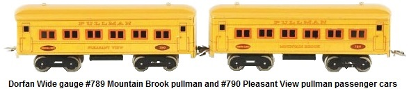 Dorfan Wide gauge lithographed passenger coaches #789 Mountain Brook pullman and #790 Pleasant View pullman
