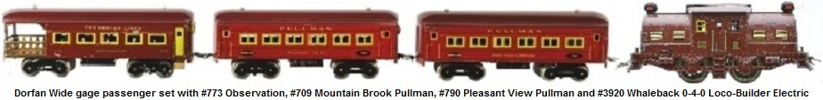 Dorfan Wide gauge passenger set with #773 observation, #789 Mountain Brook, #790 Pleasant View and #3920 Loco-Builder 0-4-0 electric outline