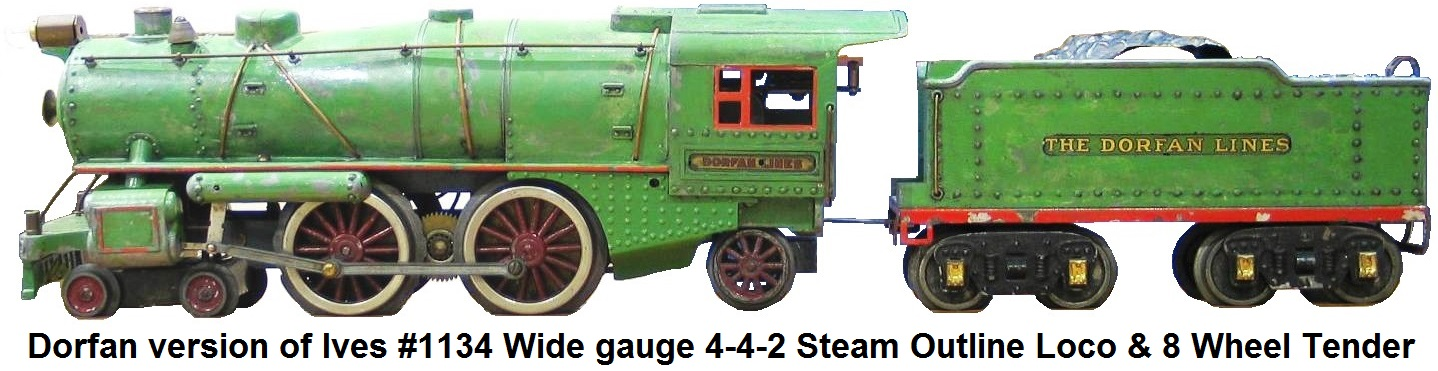 Dorfan Wide gauge version of the Ives #1134 steamer painted in green