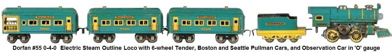 Dorfan #55 0-4-0 Locomotive, 1927 version with yellow painted trim, wheel spokes and two nickel domes and a blue 6-wheel Tender with yellow frame and Boston and Seattle coaches, Observation car in 'O' gauge