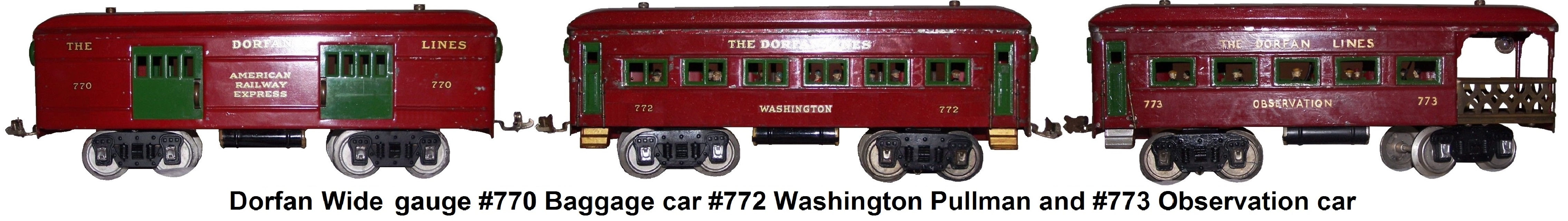 Dorfan Red Wide gauge #770 Baggage car #772 Washington Pullman and #773 Observation car