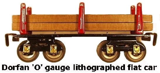Dorfan tinplate lithograhed #609 Lumber flat car in 'O' gauge
