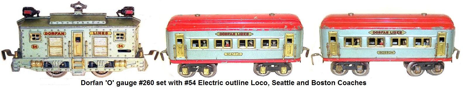 Dorfan #260 Passenger set with #54 0-4-0 electric outline cast loco, Seattle and Boston 8 wheel tinplate litho cars with passenger silohuettes