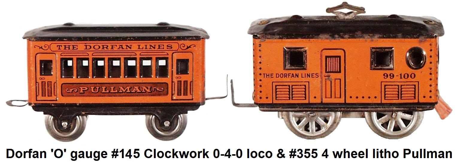 Dorfan 'O' gauge outfit #99 from 1925 with #145 clockwork loco & #355 4 wheel lithographed Pullman