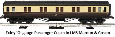 Exley 'O' gauge Passenger Coach in LMS crimson and cream