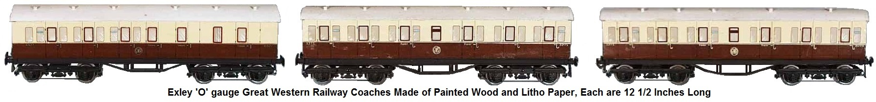 Exley Great Western Railway Coaches 'O' gauge, painted wood & litho paper, each are 12 1/2 inches long