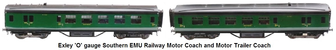 Exley 'O' gauge Southern EMU Railway motor coach and motor trailer coach