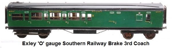Exley 'O' gauge Southern Railway Brake 3rd Coach