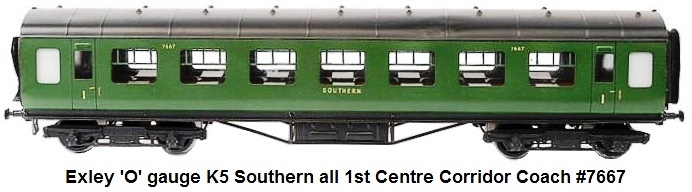 Exley 'O' gauge K5 Southern all 1st Centre Corridor Coach #7667