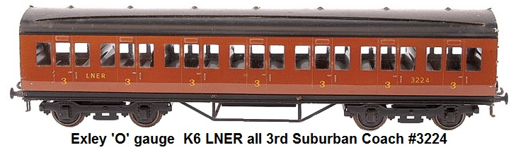 Exley 'O' gauge  K6 LNER all 3rd Suburban Coach