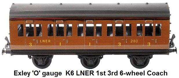 Exley 'O' gauge  K6 LNER 1st 3rd 6-wheel Coach