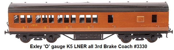 Exley 'O' gauge K5 LNER all 3rd Brake Coach #3330