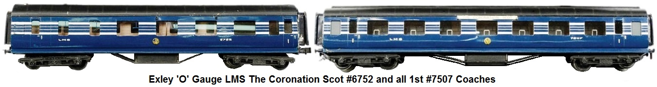 Exley 'O' gauge LMS The Coronation Scot #6752 and all 1st No.7507 Coaches