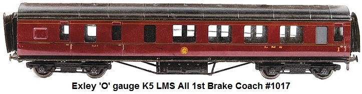 Exley 'O' gauge K5 LMS all 1st Brake Coach #1017