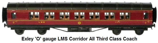 Exley LMS corridor third class 'O' gauge coach
