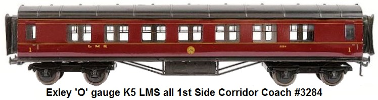 Exley 'O' gauge K5 LMS all 1st Side Corridor Coach #3284