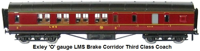 Exley 'O' gaueg LMS Brake corridor thirdclass coach