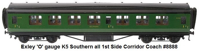Exley 'O' gauge K5 Southern all 1st Side Corridor Coach #8888