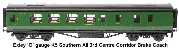 Exley 'O' gauge K5 Southern all 3rd Centre Corridor Brake Coach