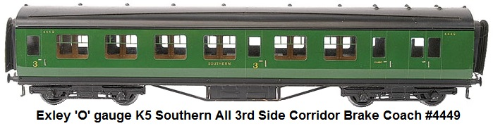 Exley 'O' gauge K5 Southern all 3rd Side Corridor Brake Coach #4449