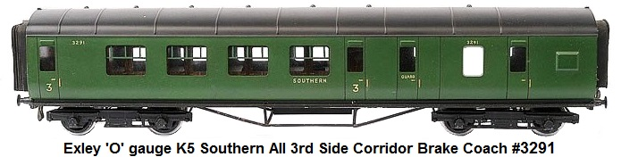 Exley 'O' gauge K5 Southern all 3rd Side Corridor Brake Coach #3291