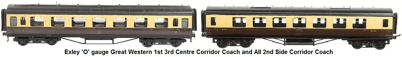 Exley 'O' gauge Great Western Coaches consisting of 1st/3rd Center Corridor Coach and all 2nd Side Corridor Coach
