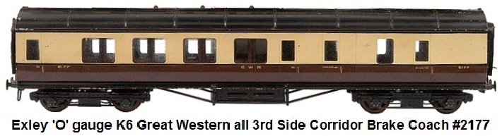 Exley 'O' gauge K6 Great Western 1st 3rd Restaurant Car #9000 all 3rd Great Western Side Corridor Brake Coach #2177