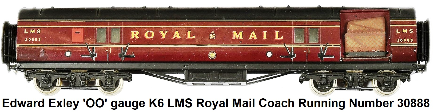 Exley 'OO' gauge K6 LMS Royal Mail Coach Running Number 30888