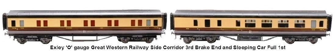 Exley 'O' gauge Great Western Railway side corridor 3rd brake end and sleeping car full 1st