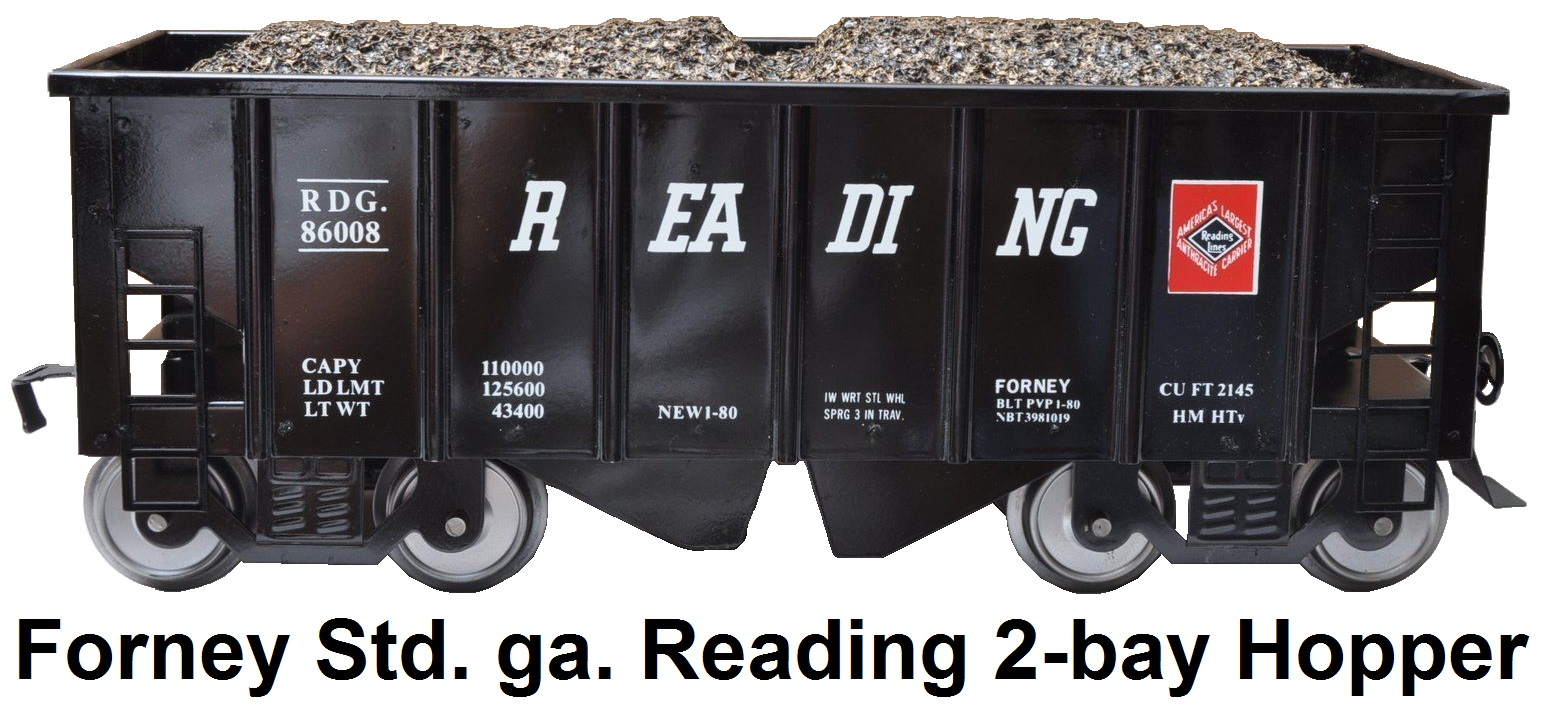 Forney Standard gauge RDG Reading Railroad #86008 2-bay Coal Hopper