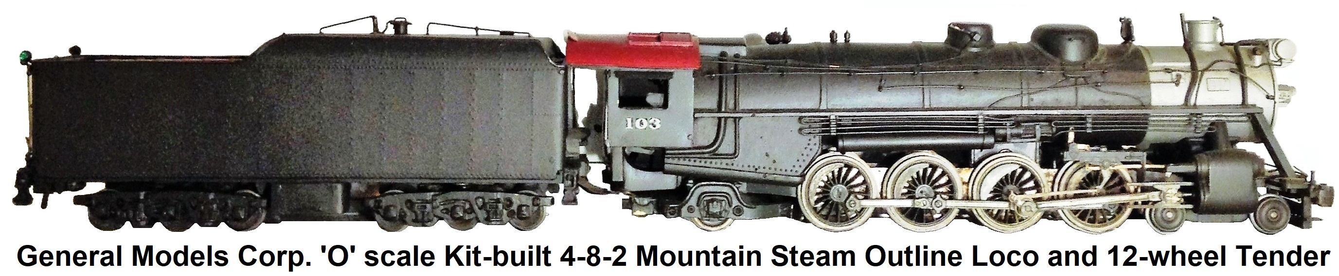 General Models Corp. 'O' scale Kit-built 4-8-2 Mountain loco and 12-wheel tender