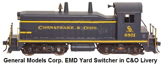 General Models Corp. 'O' gauge 1000 HP EMD Yard Switcher in C&O Livery