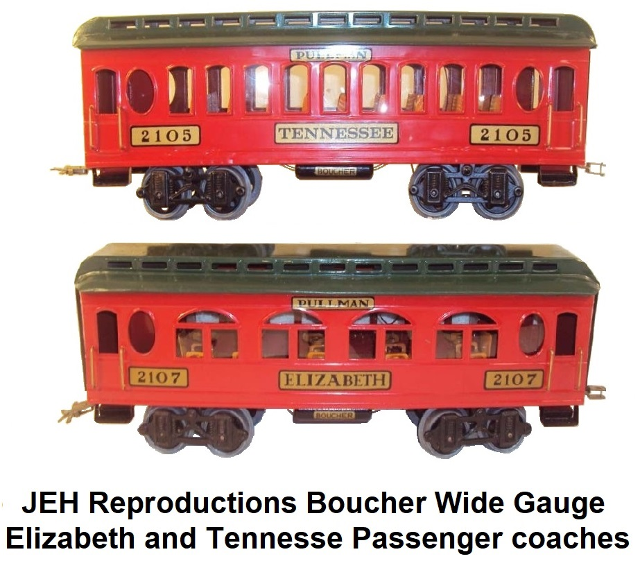 JEH Reproductions Boucher Wide Gauge Elizabeth and Tennesse Passenger coaches